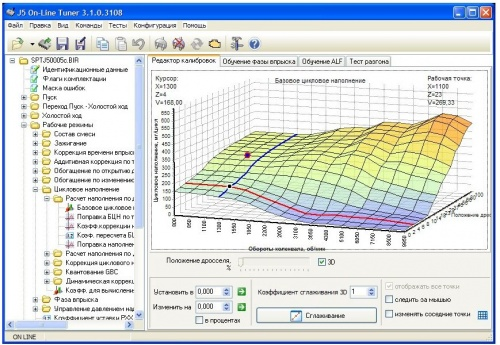 Чип тюнинг и доработки двигателя: J5 On-Line Tuner - Короткий опис інтерфейсу